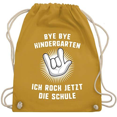 Shirtracer Einschulung und Schulanfang - Bye Bye Kindergarten Ich rock jetzt die Schule Hand - Unisize - Senfgelb - WM110 - Turnbeutel und Stoffbeutel aus Bio-Baumwolle -