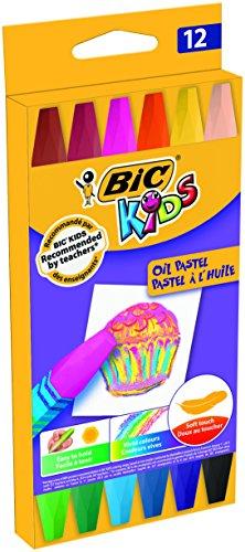 BIC Kids Oil Pastels Ceras Blandas – colores Surtidos, Blíster de 12 unidades