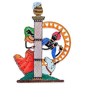 Wall Decor Art Hanging of Radhe Shyam – Radha Krishna – Handcrafted Eco Friendly Wooden Hand Painted Hand Decorated in India