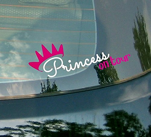 Prinzessin auf Tour???Little Girl, Krone Pink Kiss Auto Aufkleber Drift Bumper Window Auto Funny Vinyl Van Laptop Love Herz Decor Home Live Kids Funny Art Wand Aufkleber Aufkleber (Banner Krone)