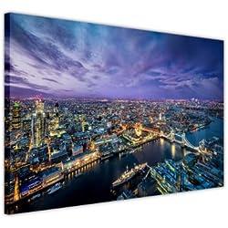 Canvas It Up Impressions sur Toile Murale La Ligne d'horizon de Londres la Nuit - Déco intérieure - Impression de Photo sur Toile - Impression Moderne