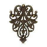 10 Deko - Ornament - Platten, Ranke, 48x35mm, antikmessing