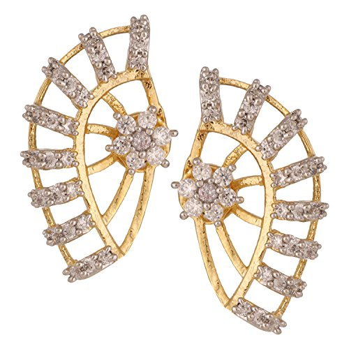 Gold Tone Indian Ethnic American Diamond Designer White Ear cuffs Earrings For Girls and Women (Gold Diamond Earrings Fake White)
