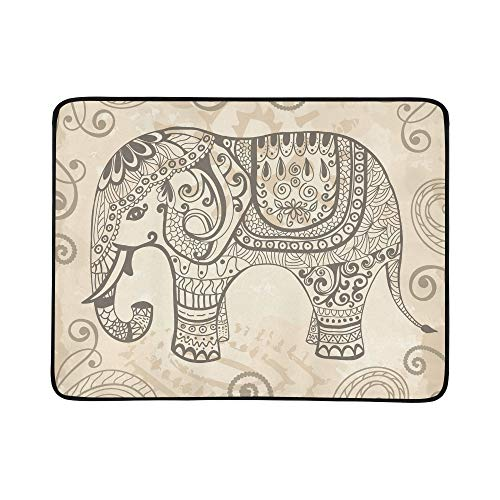 Estilizada fantasía con dibujos de elefantes dibujados a mano patrón manta de...