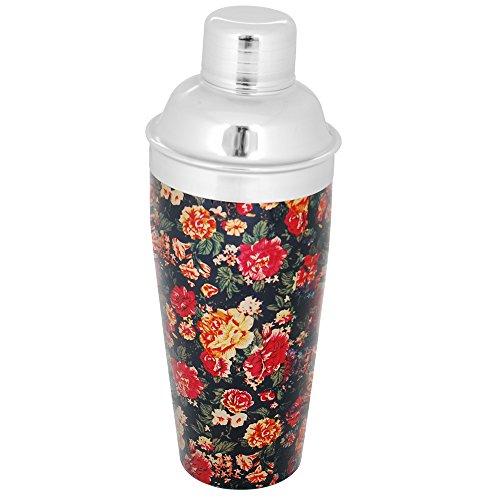 Kosma Edelstahl Cocktail Shaker - Designer Mocktail Shaker mit Blumenmuster Design, Größe 750 ml | Party-Cocktail-Mixer