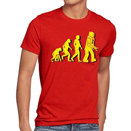 Kostüm Vintage Roboter - style3 Roboter Evolution Herren T-Shirt sheldon, Größe:S;Farbe:Rot