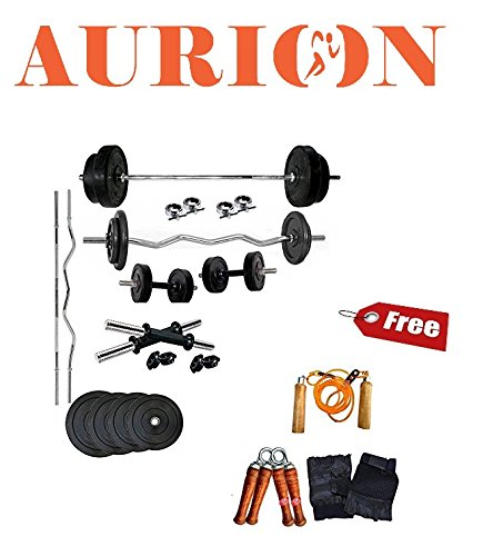aurion 18a plastic home gym set, 18kg (black) Aurion 18A Plastic Home Gym Set, 18Kg (Black) 511mculDIFL