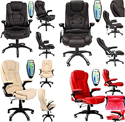 Office Deluxe Reclining Comfort Luxury Leather Executive 6 Point Massage Chair Pu Leather With 360­­° Swivel And Height Adjustment