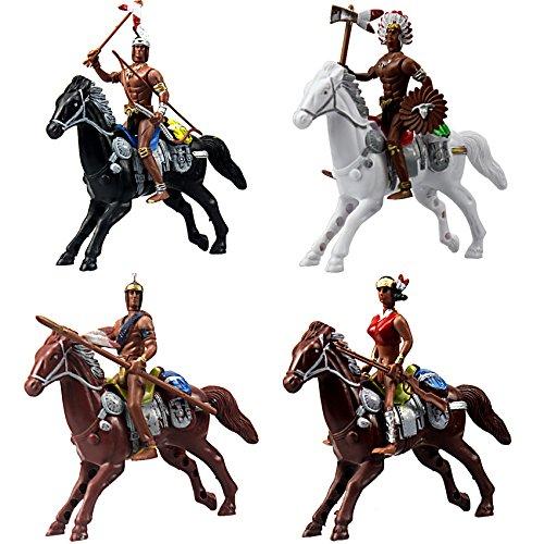 Indisch Soldaten mit Pferde Kunststoff Spielzeug Miniaturen für Fairy Garden, Kuchen Topper, Aquarium Terrarium - 4er Set (Fairy Garden Pferd)