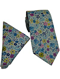 White Cotton Tie with Blue Pink & Yellow Flower Design and Matching Pocket Square