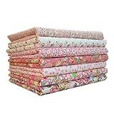 LUFA Tela de algodón 7pcs / set para el tejido de costura de costura de tejido de remiendos de casa Tela de algodón de Tilda Serie Rosa Tela de cuerpo de muñeca