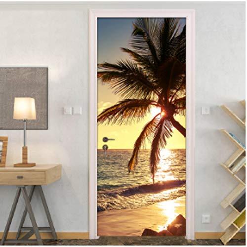 YOYODECOR Door Posters 2 Teile/Satz wasserdichte 3D Wand Tür Aufkleber DIY Selbstklebende Kunst Wandtattoos Tapete Dekoration Sunrise Beach Tür Aufkleber (Beach Wood Flooring)
