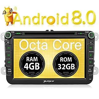 PUMPKIN Android 8.0 Autoradio 4GB DVD Player für VW mit Navi 8 Zoll Bildschirm Unterstützt Bluetooth DAB+ WLAN 4G Android Auto USB MicroSD Subwoofer MirrorLink AV-OUT Fastboot 2 DIN