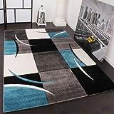 PHC Designer Teppich mit Konturenschnitt Karo Muster Türkis Grau, Grösse:60x110 cm