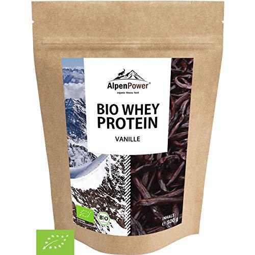ALPENPOWER | BIO WHEY Protein Vanille | Ohne Zusatzstoffe | 100% natürliche Zutaten | 7 Sorten | Bio-Milch aus Bayern und Österreich | Superfood Vanille | Hochwertiges Eiweiß | Low Carb | 500 g -