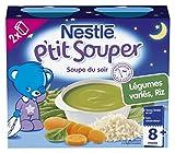 Nestlé Bébé P'tit Souper Riz Légumes variés Soupe du Soir dès 8 Mois 2 x 250 ml