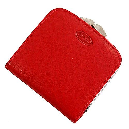 Branco Damen Leder Geldbörse, Portemonnaie Geldbeutel, Rindleder 6 Farben Bügel Börse Knipser 9 x 14,5 cm GoBago (Rot)