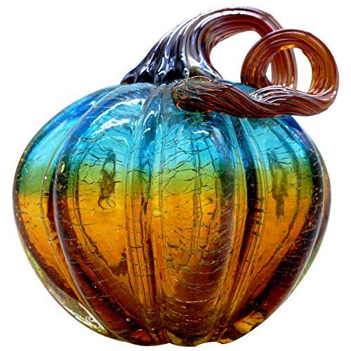 Vicreatwin handgeblasenes Glas Kürbis Sammlerstück, Tisch-Akzent für Herbsternte, Halloween, Erntedankfest, Dekoration, Ellipse, 9,9 cm, Blau und Gelb
