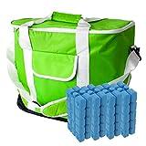 ToCi 30 Liter Kühltasche | Große XXL Kühlbox mit Schultergurt und Tragegriffen | Farbe: Grün | mit 8 x Kühlakkus (200ml)