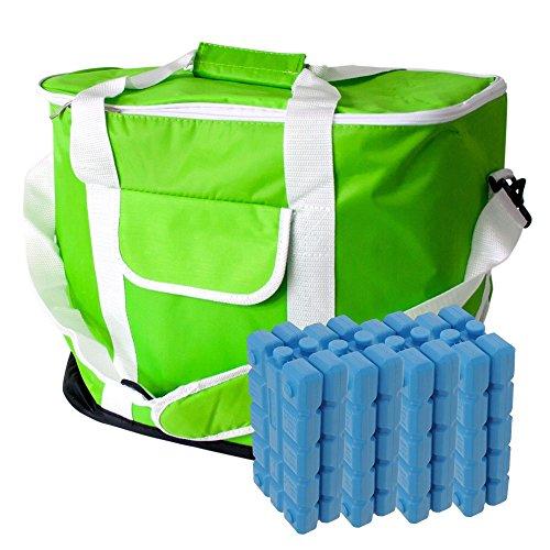 ToCi 30 Liter Kühltasche | Große XXL Kühlbox mit Schultergurt und Tragegriffen | Farbe: Grün | mit 8 x Kühlakkus (200ml) Lebensmittel Körbe Für Den Urlaub