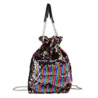 Ayliss Women Drawstring Bucket Bag Reversible Mermaid Sequin Chain Shoulder Bag Crossbody Handbags (Multicolour)