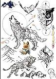 Wolf Löwe Eule Berg Linien Tattoos Grafische Tattoos schwarz P19