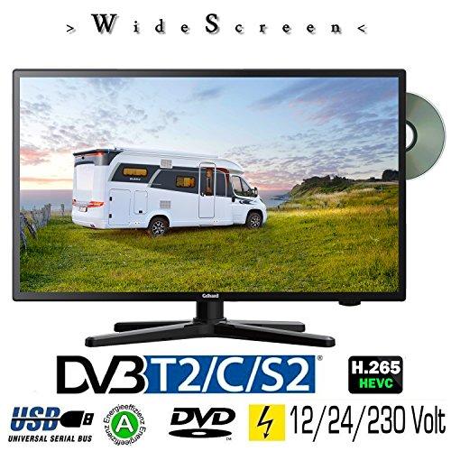Gelhard GTV-2482 LED 24 Zoll Wide Screen TV DVD DVB/S/S2/T2/C 230/12 Volt 24 Volt für Wohnmobil Camping KFZ LKW Truck und Zuhause -