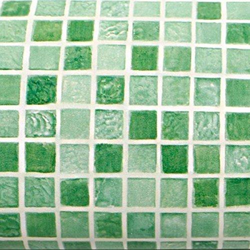 Peel & Stick Kontakt Papier selbstklebende Tapete Shelf Liner [4706-2 Faux Tile Green : 0.6 meter X 2.5 meter] (Shelf Liner Green)