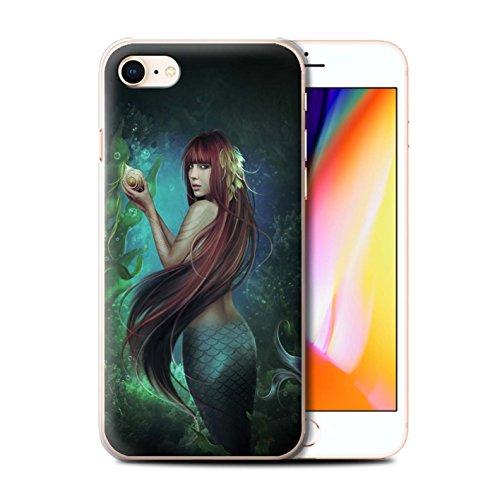 Offiziell Elena Dudina Hülle / Case für Apple iPhone 8 / Goldene Fische Muster / Agua de Vida Kollektion Meerjungfrau/Muschel