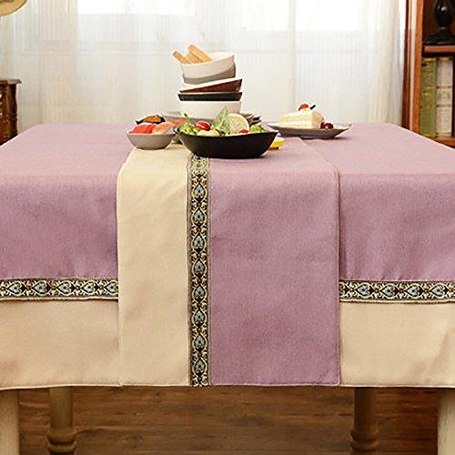 (Zweifarbige Tischläufer Tee Tischdecke TV Schrankabdeckung Tuch Western Restaurant Tischdecke Leinen Baumwolle Nähte Bett Läufer (Farbe : Purple+white, größe : 33*120cm))