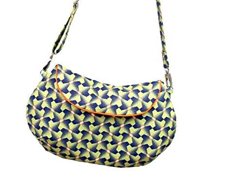 Clutch Gelb und Blau, Handtasche für Damen mit geometrischem Muster. Aus Baumwolle mit abnehmbarem Träger. Oranges Paspelband. (Designer-handtasche Gelbe)