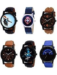 NIKOLA Classical 3D Design Mahadev Captain America Black Blue And Brown Color 6 Watch Combo (B22-B43-B18-B31-B23...