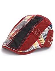 Causal Women Men Newsboy Cabbie Gatsby Flat Cap algodón Golf conducción boina gorro, rojo