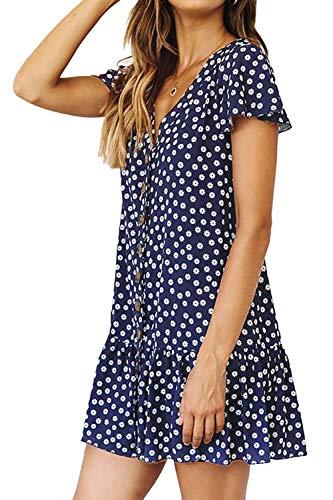 DanceWhale Damen Sommerkleider V-Ausschnitt Knöpfen Kurzarm Kleider Tupfen Rüschen Strandkleid Tunika Kleid Freizeit Lose Minikleid Marine S - Blaue Rüschen Shirt