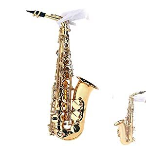 Andoer® bE Alto Saxophone Brass Lacquered Gold E Flat Sax 802 Key Type Woodwind Instrument with Cleaning Brush Cloth Gloves Cork Grease Strap Padded Case