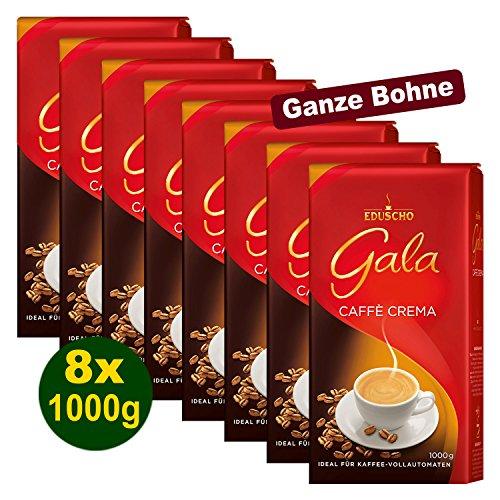 EDUSCHO Gala Caffè Crema ganze Bohnen 8x 1000g - Kaffee für höchsten Genuss