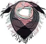 styleBREAKER Sciarpa da donna XXL quadrata con motivo principe di Galles e frange lunghe, sciarpa invernale, stola, foulard 01017116, colore:Rosa-Menta-Nero