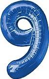 XXL Zahlen Folienballons - Mit Helium gefüllt - Blau 9 - Bunte Zahlenballons für Geburtstag Jubiläum Silvester