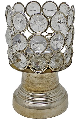 SKAVIJ Silber Kristall Kerzenhalter für Hochzeit Mittelstücke Kerzenhalter Geburtstagsfeier Esstisch Kerzenlicht Dekoration - Esstisch Kerzenhalter