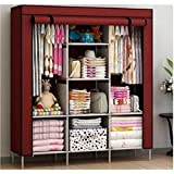 Lukzer Clothes Storage Cabinet Multipurpose Organizer [Wine Red] Non-Woven Fabric Wardrobe with 8 Shelves 130 x 45 x 175 (cm)