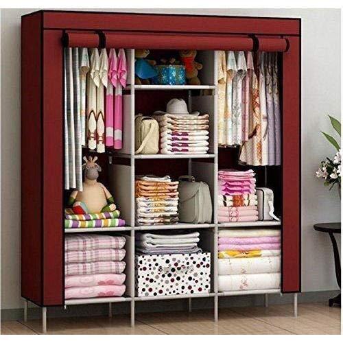Lukzer Clothes Storage Cabinet Multipurpose Organizer [Wine Red] Non-Woven Fabric Wardrobe with 8 Shelves 130 x 45 x 175 (cm)