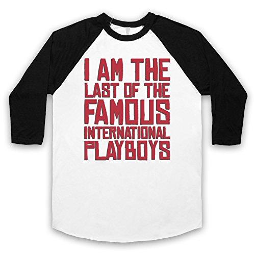 Inspiriert durch Morrissey Last Of The Famous International Playboys Unofficial 3/4 Hulse Retro Baseball T-Shirt Weis & Schwarz