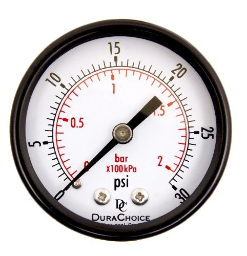 2 Utility Pressure Gauge - Blk.Steel 1/4 NPT Center Back 30PSI by DuraChoice (Blk-center)