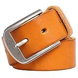 Leathario cinturón de piel cuero para hombres y caballeros hebilla de metal(Amarillo)
