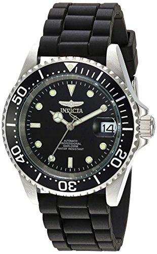 Invicta Herren Uhren Schwarz (Invicta Pro Diver Herren-Armbanduhr Armband Silikon Schwarz Automatik 23678)