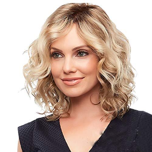 Solike Perücke Damen Mode Ombre Kurzhaar Gewellte Synthetische Blond Perücken für Frauen Karnveval Cosplay Perücken (Blond)