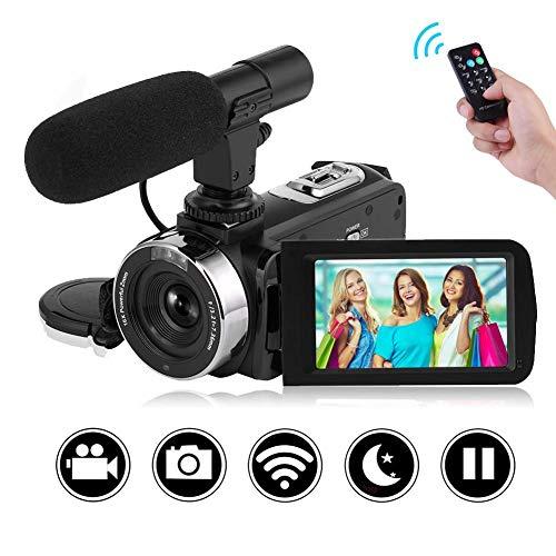 Videokamera Camcorder-Kamera Volle HD 1080P 30FPS Vlogging-Kamera mit Fernbedienung Wi-Fi IR Nachtsicht 3-Zoll-LCD-Touchscreen-Videokamera mit externem Mikrofon