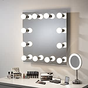 miroir de maquillage avec clairage led style hollywood loge de th tre 600 x 600 mm. Black Bedroom Furniture Sets. Home Design Ideas