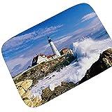 Gnzoe Flanell Teppich Seelandschaft Welle Muster Design Teppiche für Flur Schlafzimmer Bunt 90x60CM