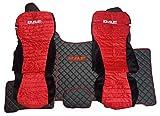 Set Sitzbezüge und Bodenmatten Linke Hand Drive Displayschutzfolien Teppich schwarz rot Kabine Truck Trucker Zubehör Dekor